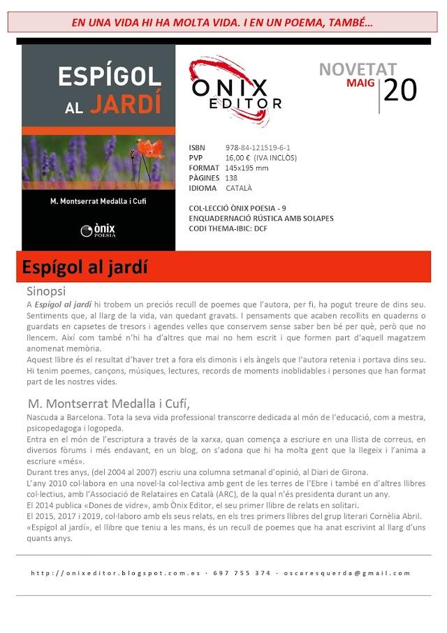 NOVEDADES EDITORIALES: ESPÍGOL AL JARDÍ de M. Montserrat Medalla