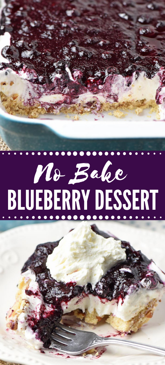 CREAMY NO BAKE BLUEBERRY DESSERT #cake #easy #keto #blueberry #bars