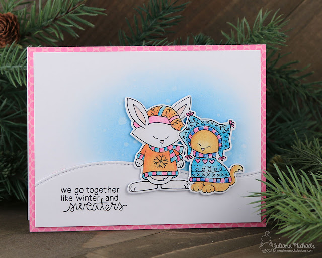 Sweater Weather Friends Together Card by Juliana Michaels featuring Newton's Nook Sweater Weather Stamp and Die Set #newtonsnook