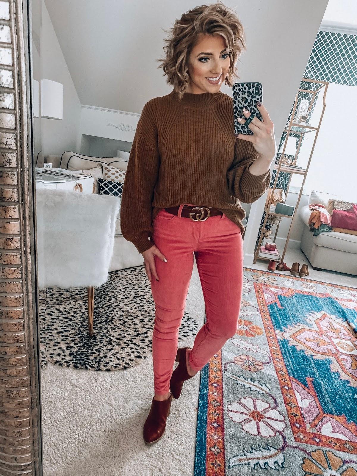 Old Navy High Waist Rockstar Cord Skinnies + Mock Neck Sweater - Somethig Delightful Blog #affordablefashion