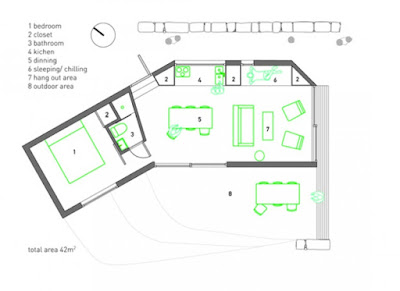 Small prefab guest house plan