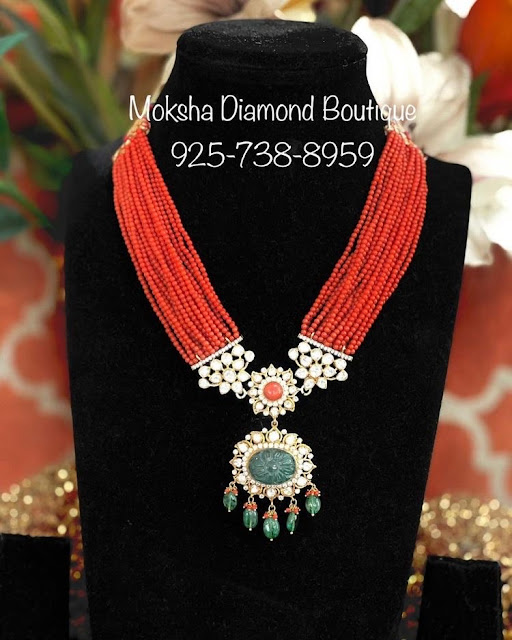 Coral Beads Set with Moissanite Pendant