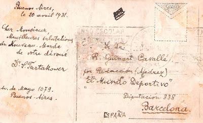 Postal enviada a Guinart por Savielly Tartakower en 1931