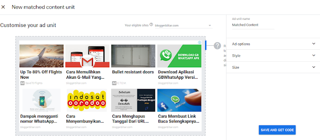Dashboard iklan matched content