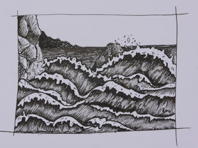 seascape drawing following Alphonso Dunn's tutorial