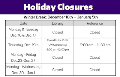A table of the Holiday Closures. Winter Break is December 16th-January 5th.The library will be closed December 16th and 17th. The library will be closed to the public on December 19th and open 8:00 am to 12:00 pm to the UW Community. The library will also be closed December 23rd to January 1st.