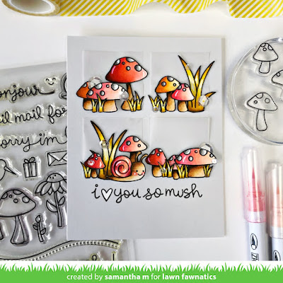 Love You So Mush Card by Samantha Mann, Lawn Fawn, Lawn Fawnatics, Mushrooms, Sketch, Challenge, Handamde Cards, Cards, Love, #lawnfawn #lawnfawnatics #mushrooms #cards #handmadecards