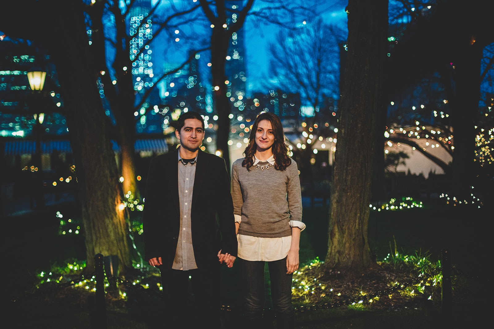 The River Cafe Brooklyn engagement photos at night | NYC Documentary wedding photographer Cassie Castellaw