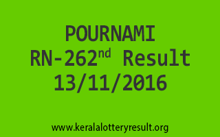 POURNAMI RN 262 Lottery Results 13-11-2016