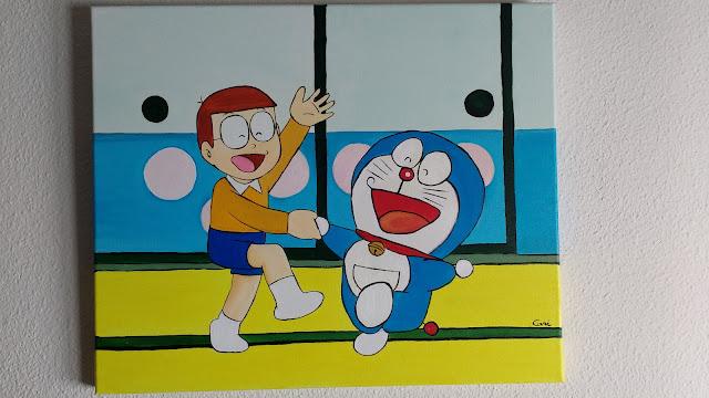 dibujo al oleo de Nobita y Doraemon