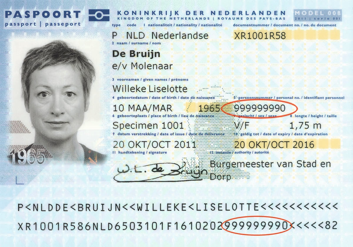 A specimen Dutch passport with BSN circled. Picture by rijksoverheid.nl.