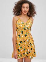 ZAFUL Ruffles Floral Wrap Dress
