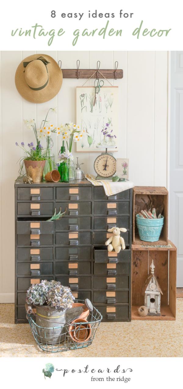 vintage metal hobart drawer cabinet with cottage garden-inspired decor