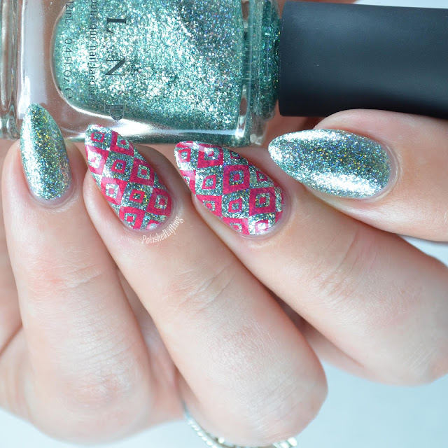 mint metallic nail polish with pink squares