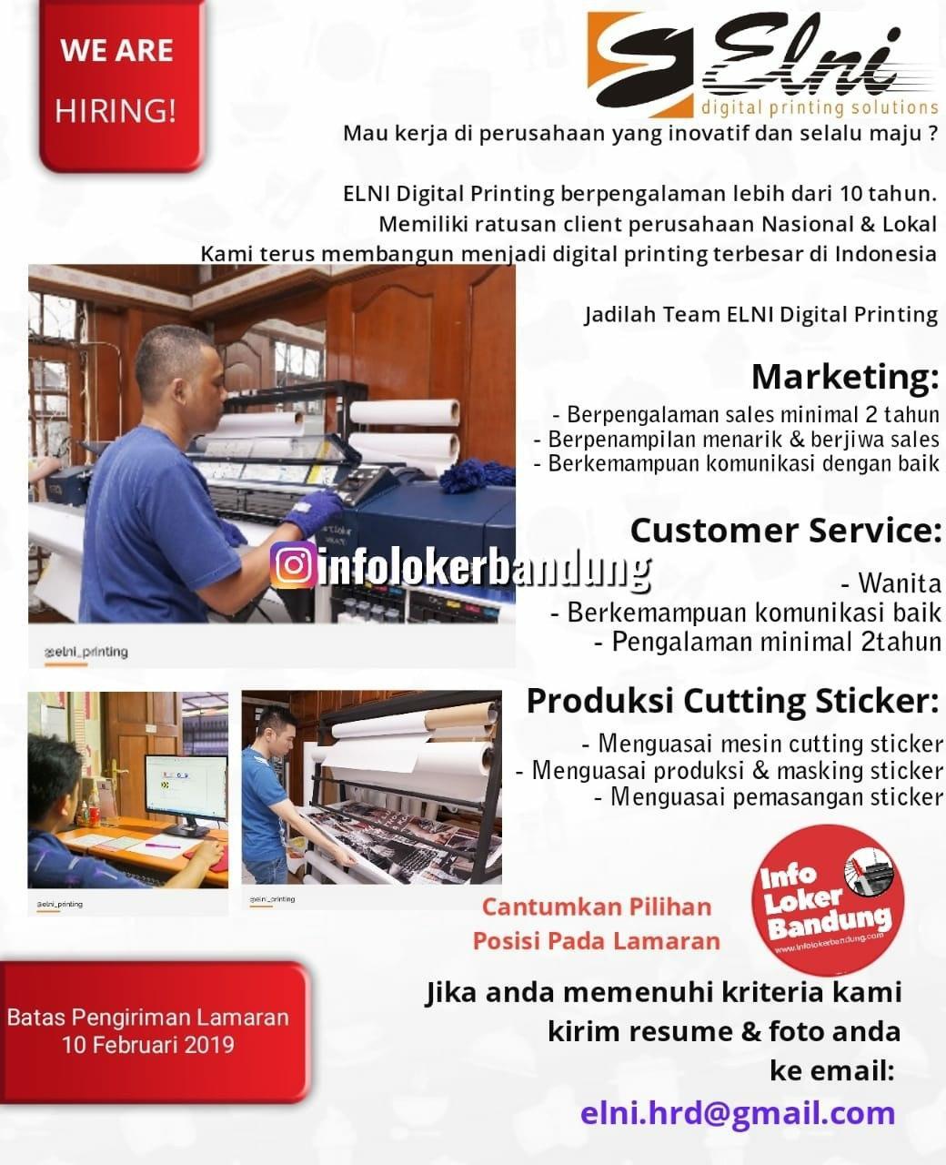Lowongan Kerja PT. Elni Digital Printing Bandung Februari 2020