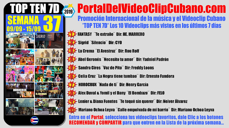 Artistas ganadores del * TOP TEN 7D * con los 10 Videoclips más vistos en la semana 37 (09/09 a 15/09 de 2019) en el Portal Del Vídeo Clip Cubano