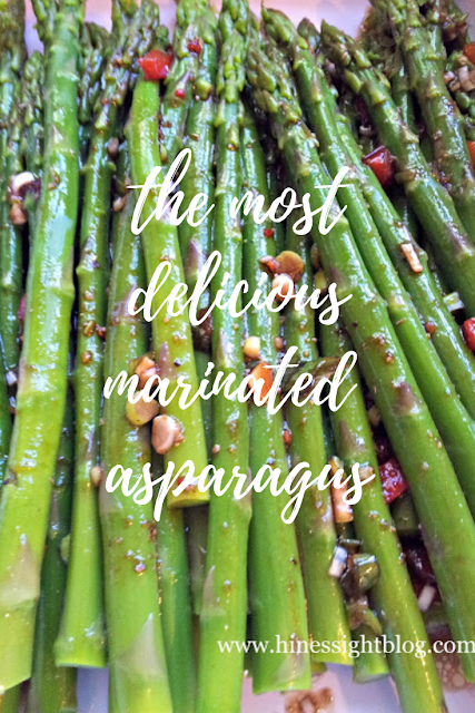 The perfect asparagus recipe for Easter, a bridal luncheon or just for the family.  This Marinated Asparagus is the most delicious asparagus ever.  #springrecipes #recipes #asparagus #sides