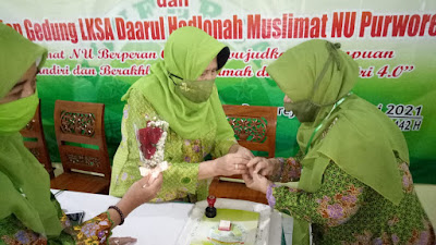 Nyai. Hj. Maslichati Madhan Anis Nahkodai Pimpinan Cabang Muslimat NU Kabupaten Purworejo masa khidmah 2020 -2025