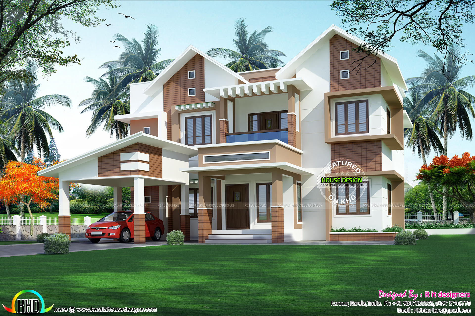 2876 Sq Ft Modern Sloping Roof Home Kerala Home Design