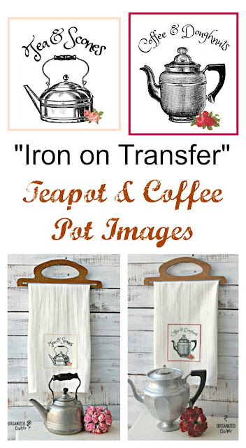 Iron On Transfer Teapot and Coffee Pot Graphics for Tea Towels