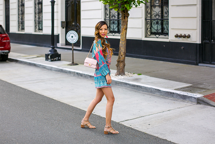 Tolani Eva Dress, chanel classic flap bag, baublebar earrings, sole society sandals, studded sandals, coachella outfit, summer outfit, san francisco fashion blog, san francisco street style