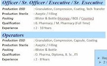 USV Private Limited Recruitment for Production OSD -Granulation/ Compression/ Coating,  Sterile - Aseptic / Filling and Packing Department