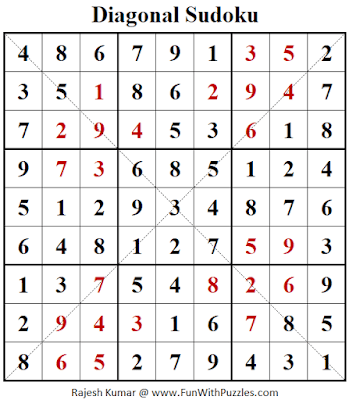 Answer of Diagonal Sudoku Puzzle (Fun With Sudoku #392)
