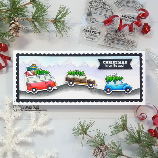 Cars and van carrying trees Christmas Card by Andrea Shell | Christmas Delivery Stamp Set and Mountains Stencil by Newton's Nook Designs #newtonsnook #handmade