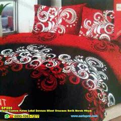Sprei Custom Katun Lokal Dewasa Silent Ornamen Batik Merah Hitam