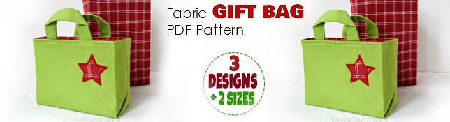 Get Fabric Gift Bag Pattern here.