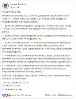 Press Release : Aksi Kriminal di Kelurahan Pantai Amal Tarakan 20191023