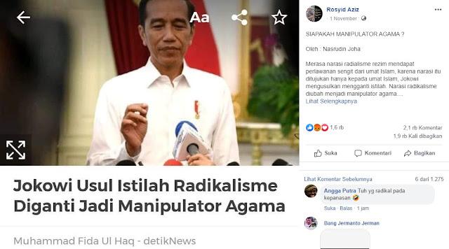 Jokowi Usul 'Radikalisme' Diubah 'Manipulator Agama'