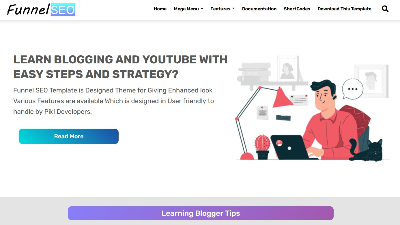 Funnel SEO is a Responsive Blogging Blogger Template,