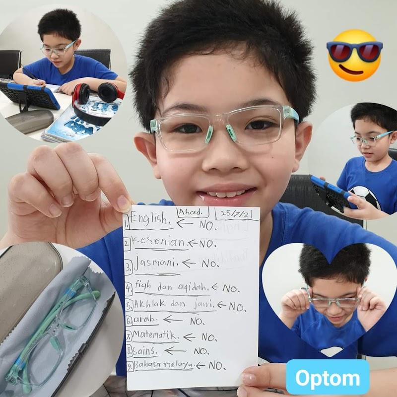 Kedai Cermin Mata OPTOM Eyecare Bangi jual pelindungan kanta mata khas anak-anak dari cahaya UV gadget merbahaya