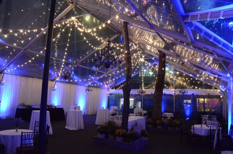 Suspended string lights with round G50 bulbs in a two circular/star shaped patterns under the South Garden Tent at Bryant Park Grill located in midtown ... & Universal Light and Sound - Recent Events: String Lights under ...