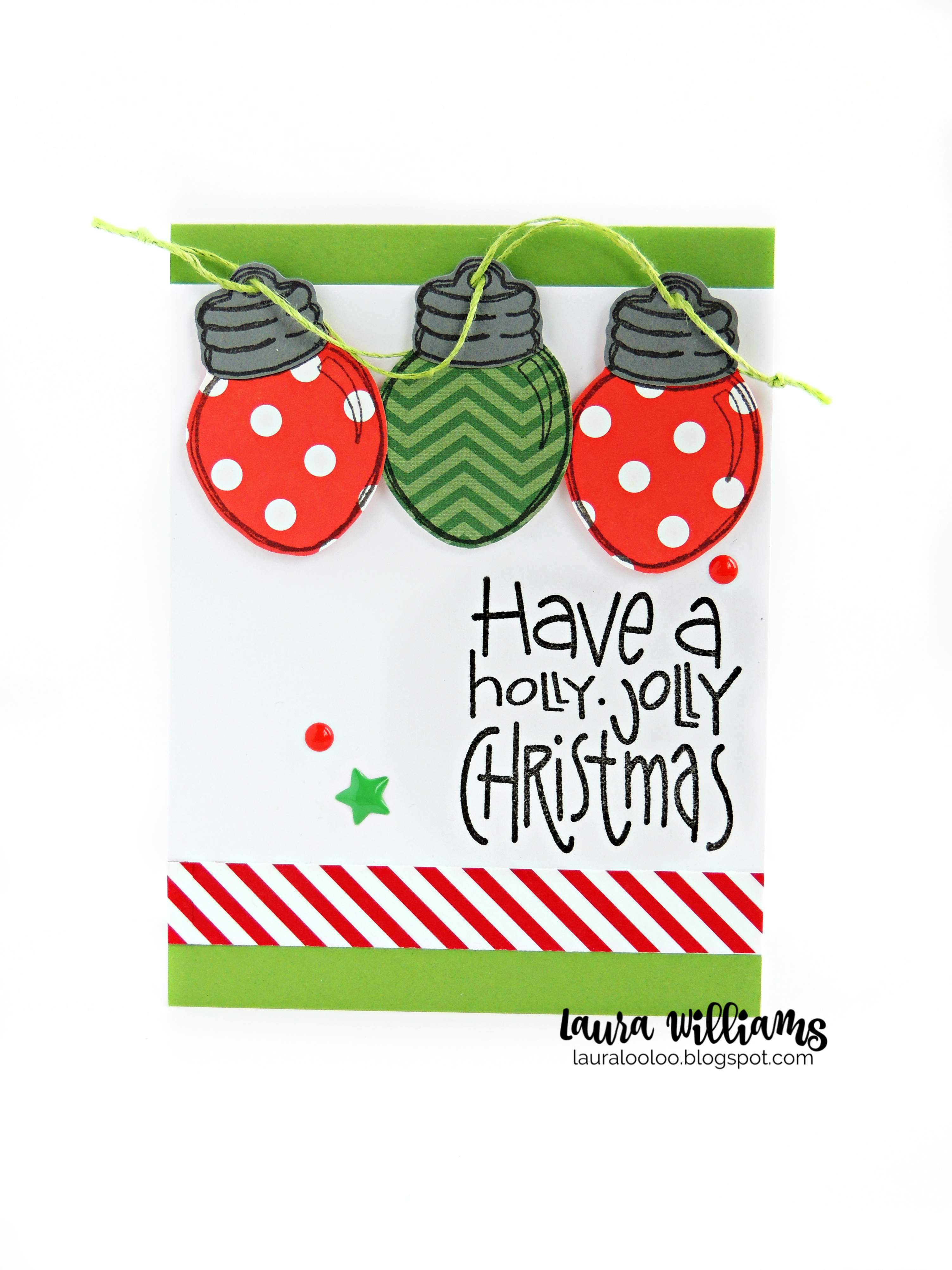 Make a festive Christmas card with polka dot Christmas lights using Impression Obsession stamps. Holly Jolly Christmas card
