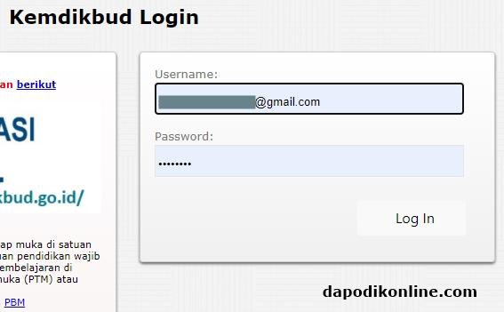 Masukkan usernama dan passwordnya kemudian klik Login In