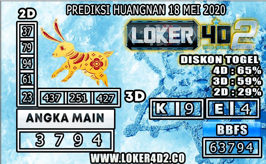 PREDIKSI TOGEL HUANGNAN LOKER4D2 18 MEI 2020