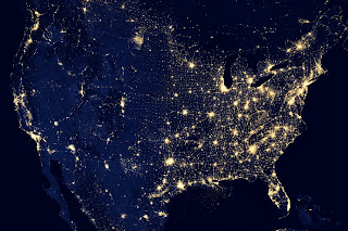Continent by night; image source: NASA