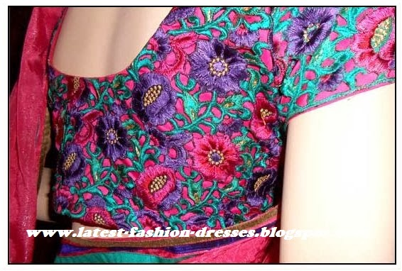pink with purple embroidery designer blouse