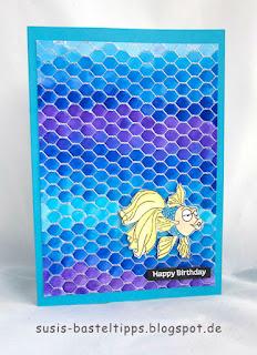 türkises Meer mit kleinem Fisch, diy Geburtstagskarte verschiedene HIntergrund Variationen mit dem Stampin' Up! Stempel all wired up und Farben, Idee von Stampin' Up! Demonstratorin in Coburg