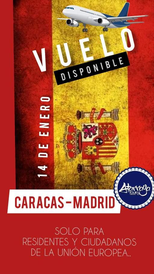Vuelo 14 de Enero Caracas a Madrid