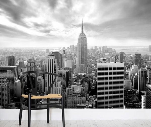 Mustavalkoinen New York Tapetti Skyline