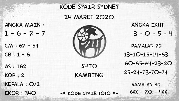 Prediksi Sidney terjitu Selasa 24 Maret 2020 - Kode Syair Sydney