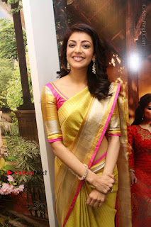 Actress Kajal Agarwal Stills in Golden Silk Saree at Trisha Sesigner Store Launch  0041.jpg