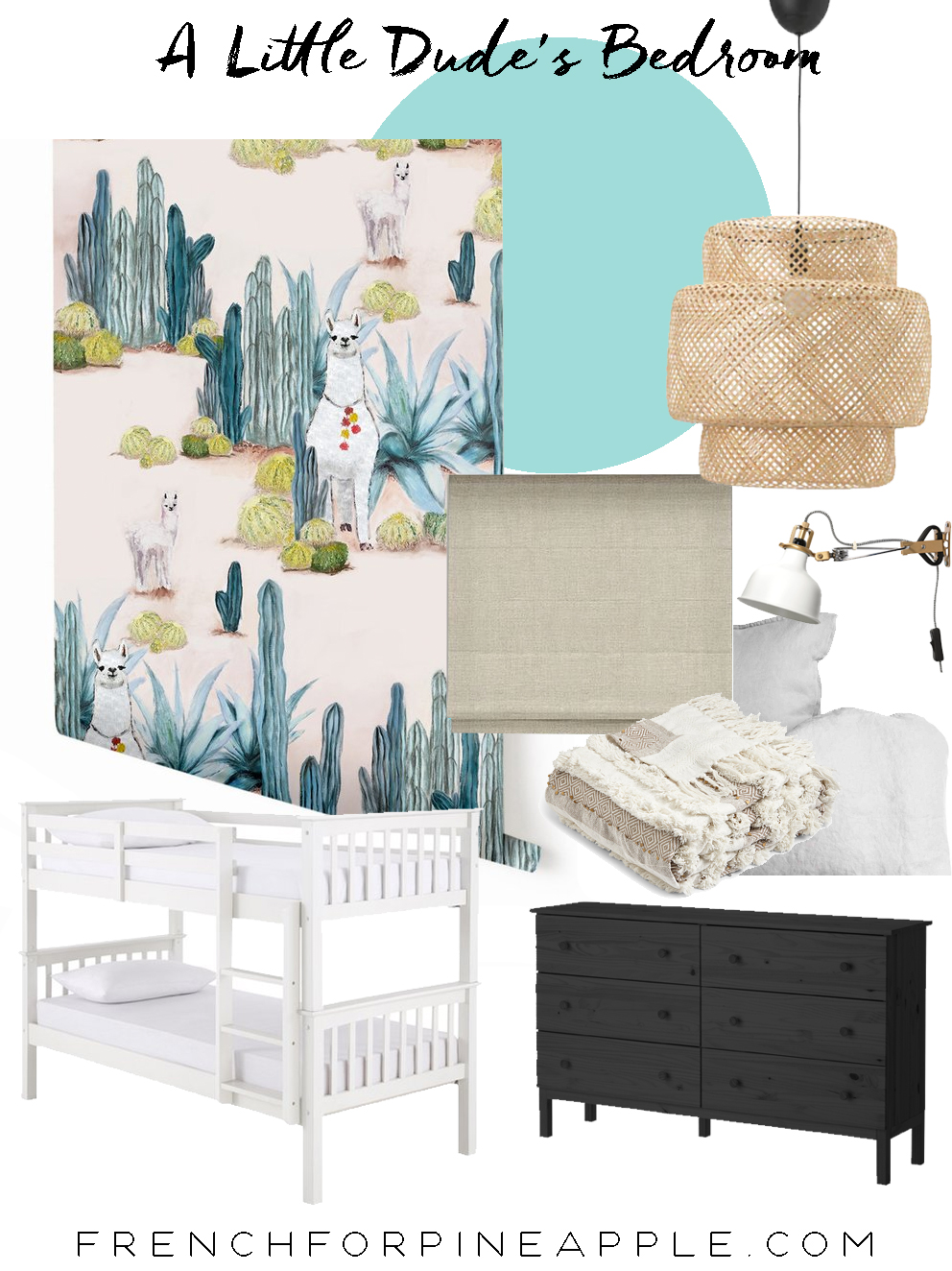 French For Pineapple Blog - A Little Dude's Bedroom Makeover. The Moodboard featuring Desert Llama wallpaper by Drop It Modern