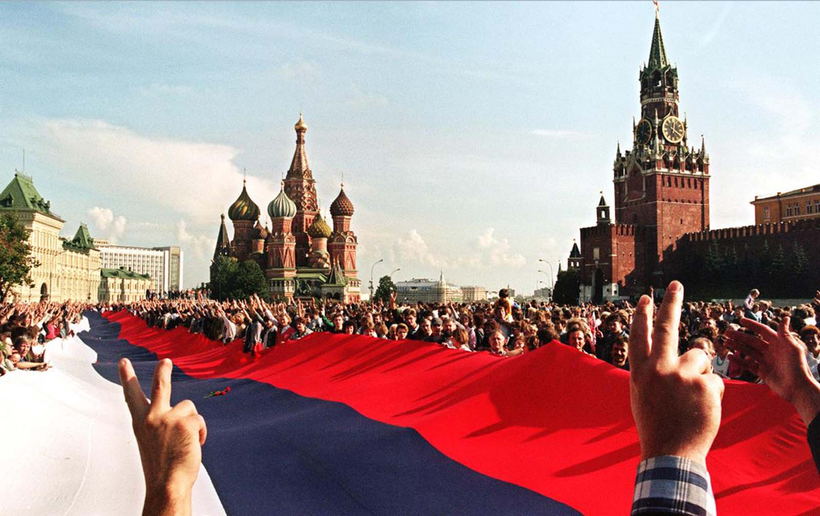 Celebrations in Moscow after the failure of the coup attempt, and remembrances of those killed in the violence, in August of 1991.
