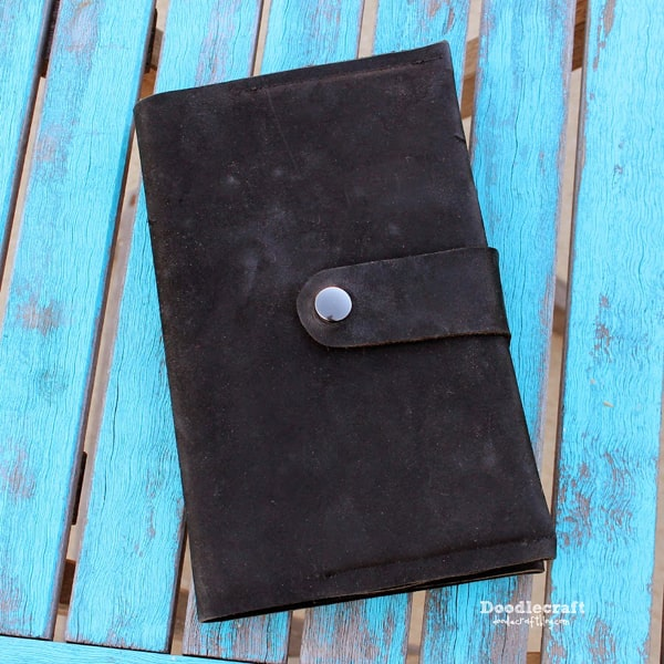Leather book jacket cover for journal sketchbook or notebook