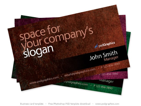 كارت شخصي بصيغة psd  Grunge business card Photoshop template