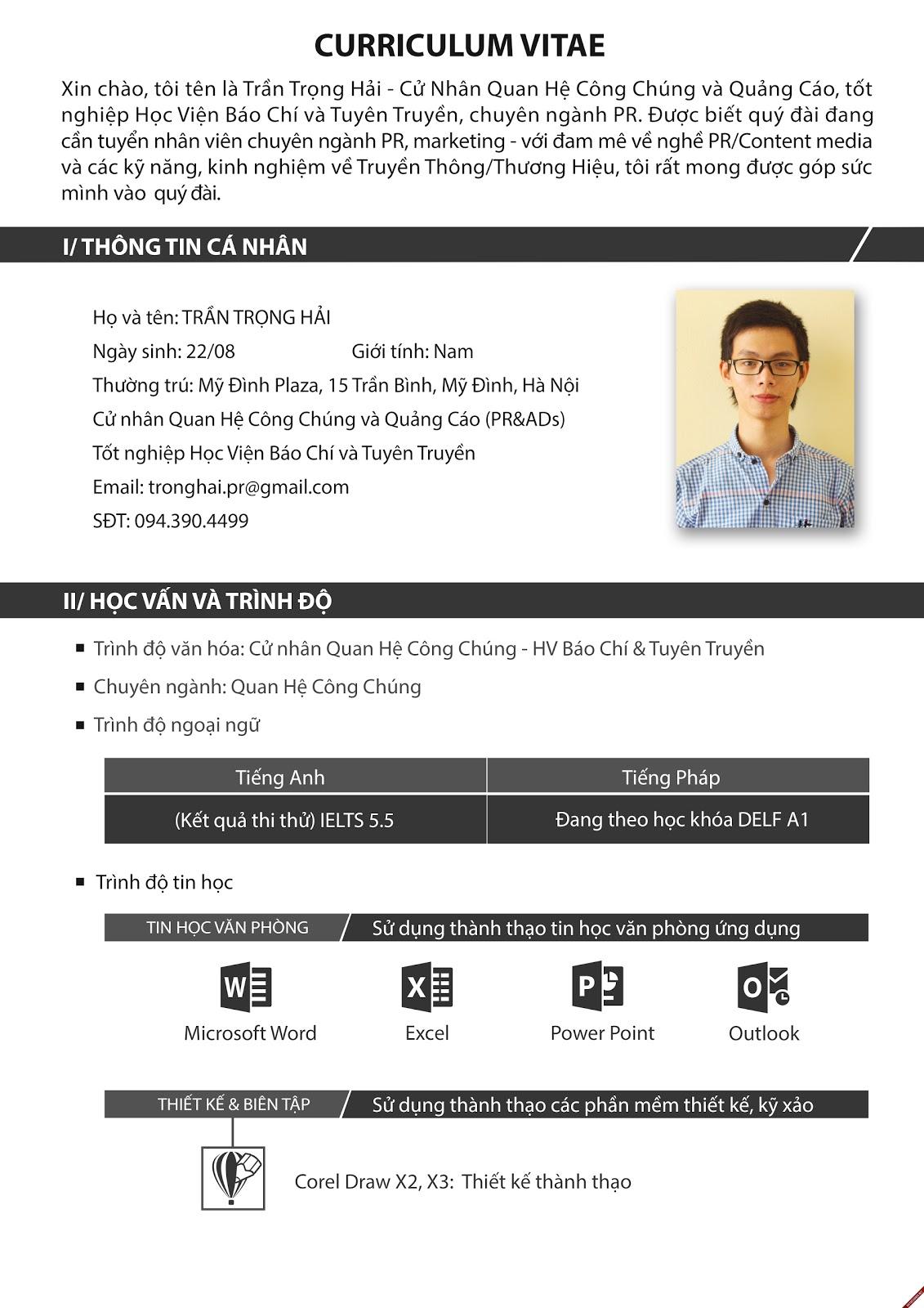 #2 Chia sẻ CV ấn tượng của cử nhân Quan Hệ Công Chúng và Quảng Cáo